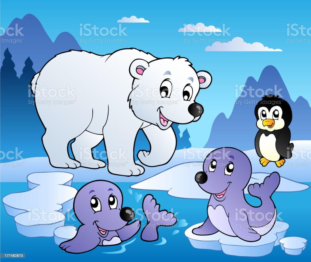 冬の風景様々な動物 1 - アザラシのベクターアート素材や画像を多数ご