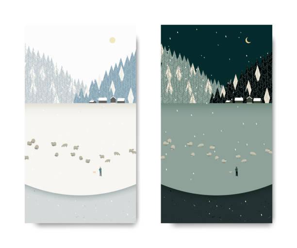 bildbanksillustrationer, clip art samt tecknat material och ikoner med vacker natur vinterlandskap, man tenderar hans får nedan liten by och tall skog, dag och natt tid förflutit, vykort mall - hund skog