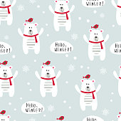 Winter seamles pattern with polar bears and birds for scrapbook and wrapping paper