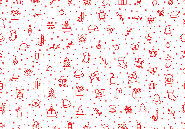 ilustrações de stock, clip art, desenhos animados e ícones de winter seamless pattern background with red christmas festive elements and objects in line art, - christmas cake