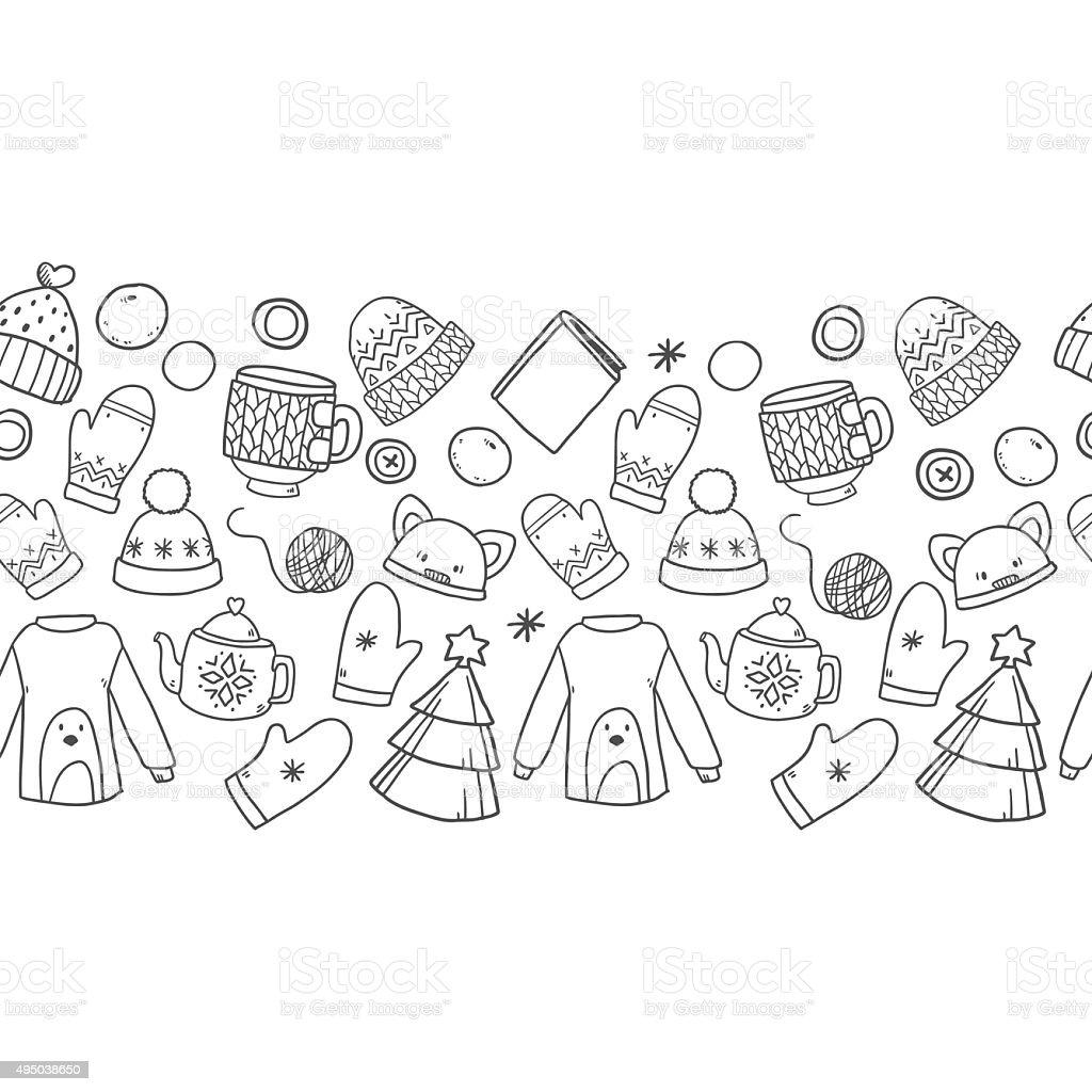 Patrón Sin Costuras De Invierno Frontera - Arte vectorial de stock y ...