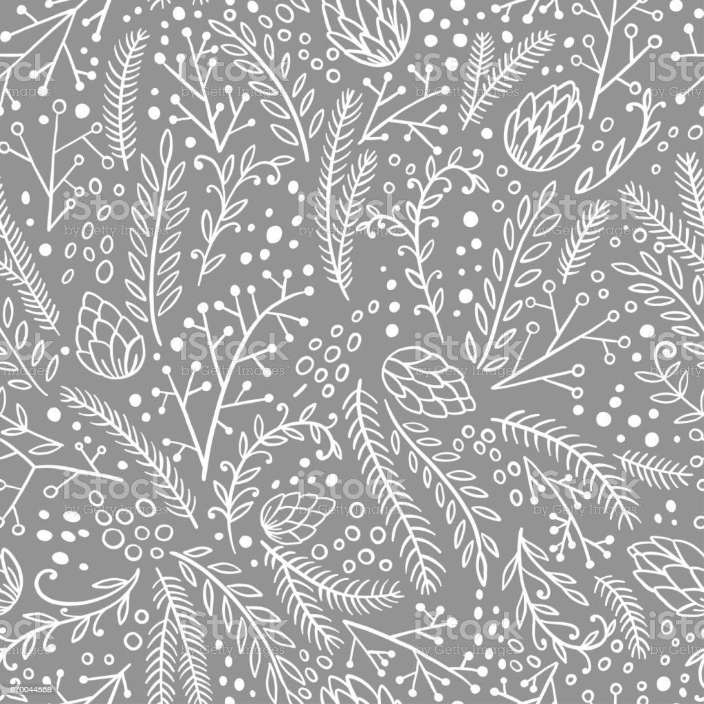 冬のシームレスなパターン。手の描かれた針葉樹: モミ、カラマツ、ジュニパー、パイン、スプルース。ベクトル図を落書き。 ベクターアートイラスト