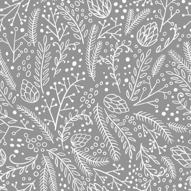 冬のシームレスなパターン。手の描かれた針葉樹: モミ、カラマツ、ジュニパー、パイン、スプルース。ベクトル図を落書き。 - 冬点のイラスト素材/クリップアート素材/マンガ素材/アイコン素材