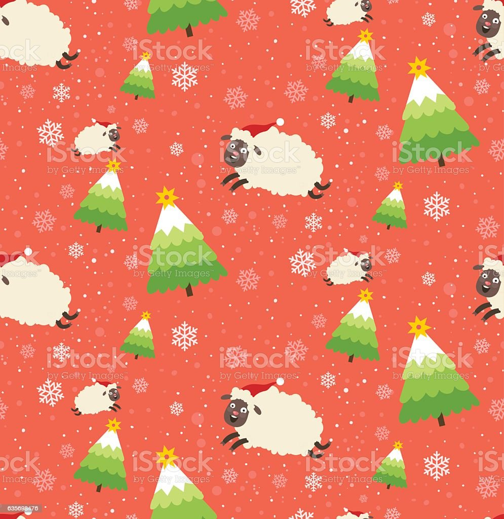 Winter seamless pattern with Christmas trees and sheeps royalty-free winter seamless pattern with christmas trees and sheeps stock vector art & more images of abstract