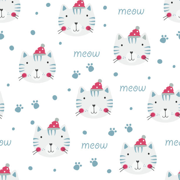 winter seamless pattern with cute cats vector art illustration