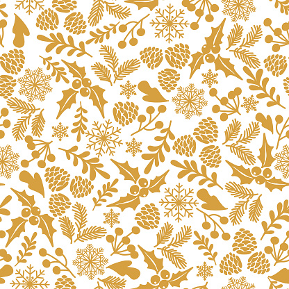 Winter seamless  pattern with holly berries.