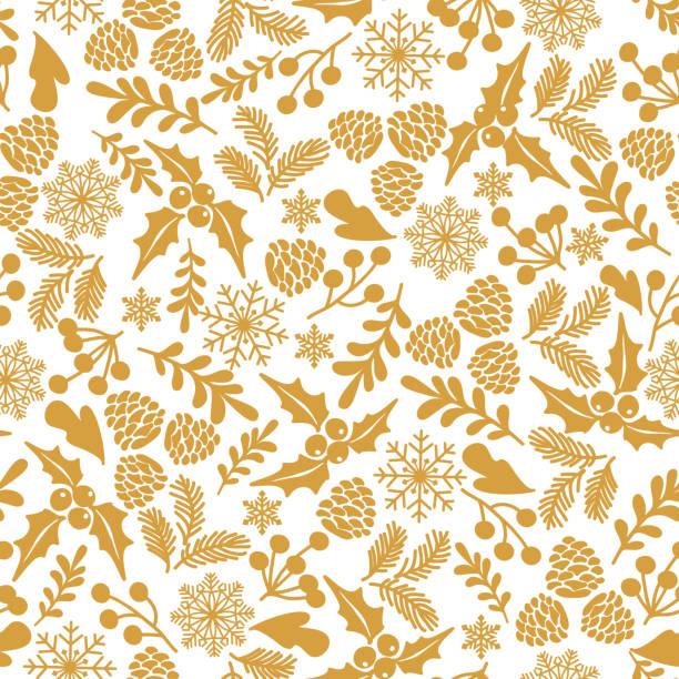 ilustrações, clipart, desenhos animados e ícones de padrão sem emenda de inverno com bagas de azevinho. - christmas pattern