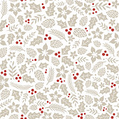 istock Winter seamless pattern with holly berries. 1166366147