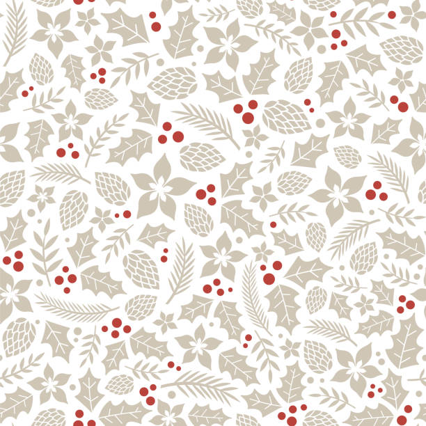 Winter seamless pattern with holly berries. Winter seamless pattern with holly berries. For wallpaper, pattern fills, surface textures, fabric prints. holiday background stock illustrations