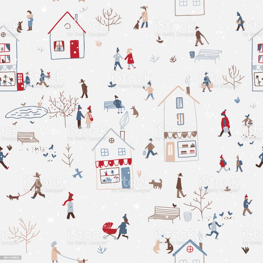 winter seamless pattern with people walking in city vector art illustration
