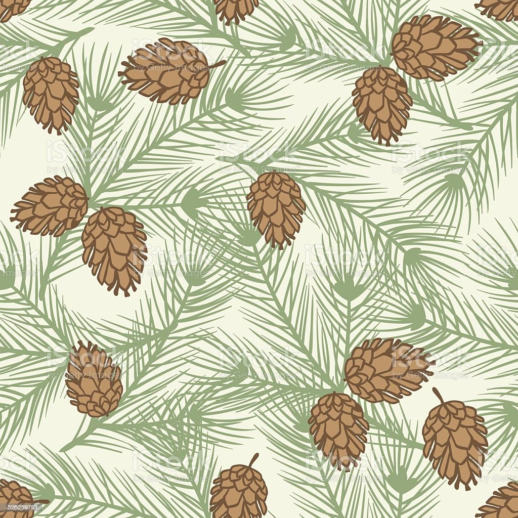 Winter seamless pattern with stylized pine branches. vector art illustration