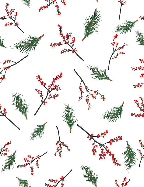 stockillustraties, clipart, cartoons en iconen met winter seamless patterns - bessen