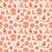 Winter seamless patterns with gingerbread cookies. Awesome holiday vector background. Christmas repeating texture for surface design, wallpapers, fabrics, wrapping paper etc.