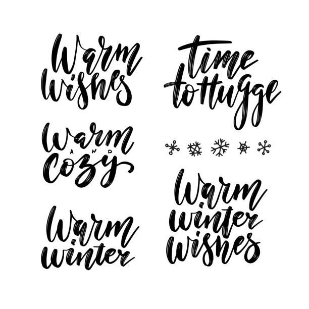 wintersaison und weihnachtsgrüße schriftzug gesetzt. zeit zum umarmen, warm und gemütlich, warmer winter, warme winterwünsche pinsel kalligraphie - cozy stock-grafiken, -clipart, -cartoons und -symbole