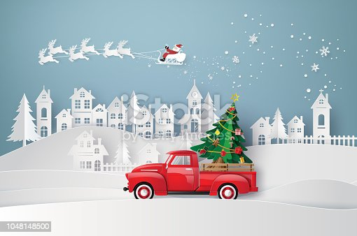 Peper art of Merry Christmas and winter season with red truck carry Christmas tree.