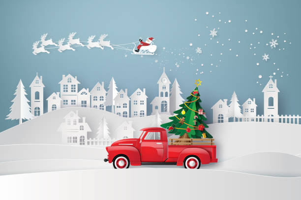 winter season and merry Christmas Peper art of Merry Christmas and winter season with red truck carry Christmas tree. village stock illustrations