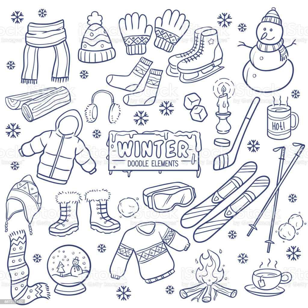 Winter Season Hand Drawn Elements Stock Illustration Download Image Now Istock