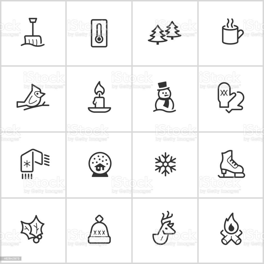 Winter Season Icons — Inky Series vector art illustration