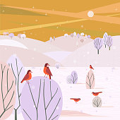 Winter nature landscape. Colorful countryside cartoon. Christmas wonderland outdoors scene. Frozen snowy trees, playful birds in mountain valley. Vector design for holiday season new year event card