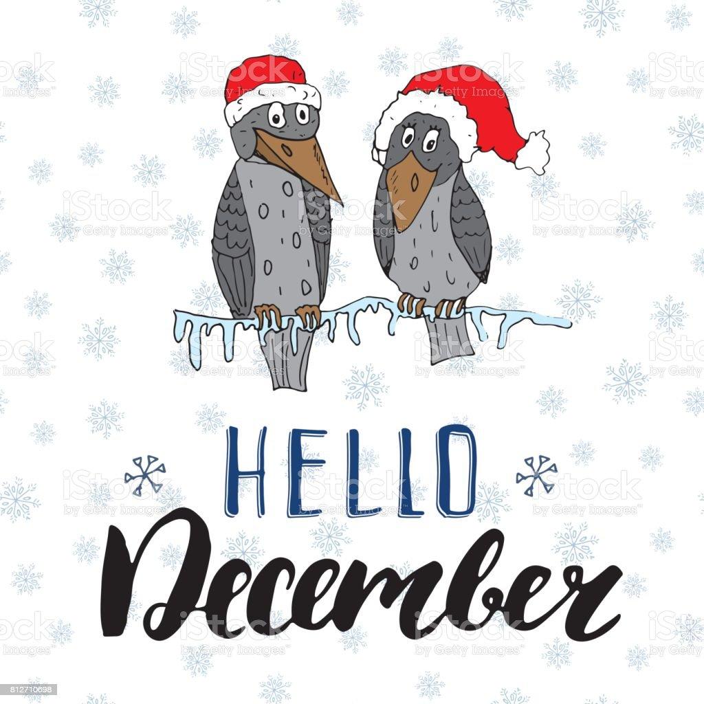 Kış Sezonu Yazı Alıntı Aralık Merhaba Elle çizilmiş Doodle
