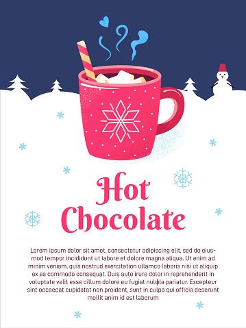 Winter season poster cup chocolate marshmallows