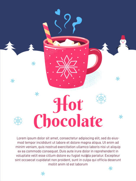 Winter season poster cup chocolate marshmallows Winter season poster with red cup of hot chocolate, marshmallows and candy. Christmas hot drink of cocoa, coffee in mug with snowflake. Winter background with text. Blackboard restaurant or cafe sign. hot chocolate stock illustrations