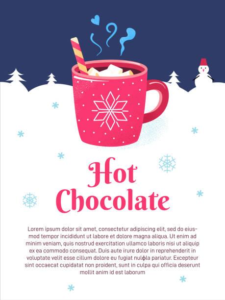 winter saison plakat tasse schokolade marshmallows - weihnachtsschokolade stock-grafiken, -clipart, -cartoons und -symbole