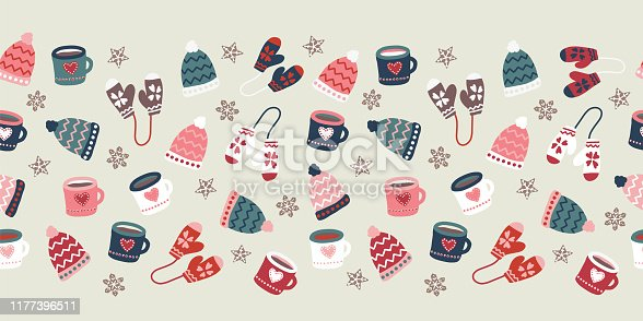 Winter season seamless vector border warm clothes cookies and mugs repeating pattern. Hand drawn doodle gloves, hats, mugs hot drink. Christmas Holiday illustration Scandinavian flat style.