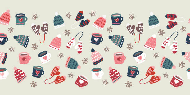Winter season seamless vector border warm clothes cookies and mugs repeating pattern. Hand drawn doodle gloves, hats, mugs hot drink. Christmas Holiday illustration Scandinavian flat style Winter season seamless vector border warm clothes cookies and mugs repeating pattern. Hand drawn doodle gloves, hats, mugs hot drink. Christmas Holiday illustration Scandinavian flat style. mitten stock illustrations