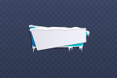 Winter season themed blank banner. Snow, ice and icicle covered blue and white label sign for holiday promotion, Christmas sale ad template vector illustration isolated on transparent background
