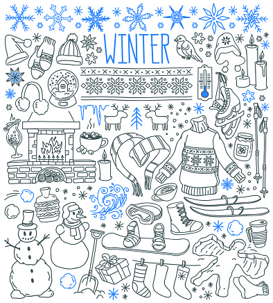 Winter season themed doodle set - snowflakes, icicles, classic ornaments, knitted wear, winter sports.