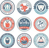 istock Winter season Vector Circular Labels 840056426