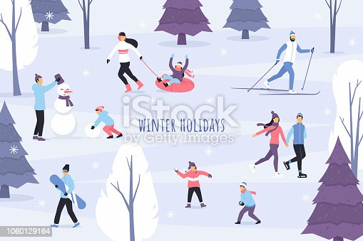 Winter season vector illustration. Outdoor games and activities. People in the winter park. Flat characters skate, ski, make a snowman, play snowballs and have fun. Snowy forest landscape.
