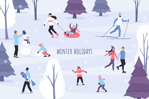 Winter season vector illustration. Outdoor games and activities. People in the winter park. Flat characters ice skating, ski, make a snowman, play snowballs and have fun. Snowy forest landscape.