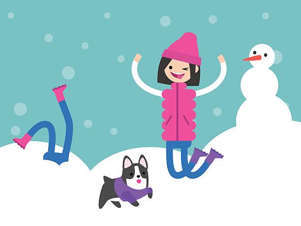 winter season. winter outdoor activities. young characters enjoying snow - feststecken stock-grafiken, -clipart, -cartoons und -symbole