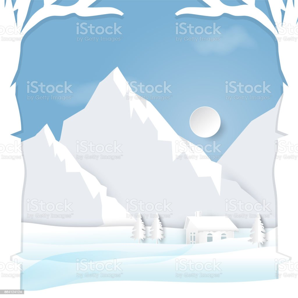 Winter season with  mountain cabins scenes background paper art style royalty-free winter season with mountain cabins scenes background paper art style stock vector art & more images of animal wildlife