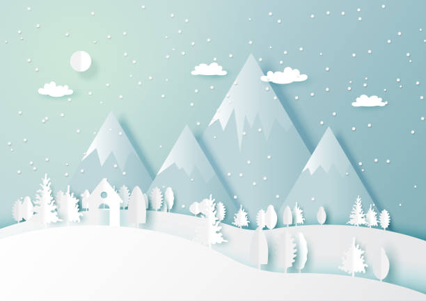 Winter season with white house and forest nature landscape background vector art illustration