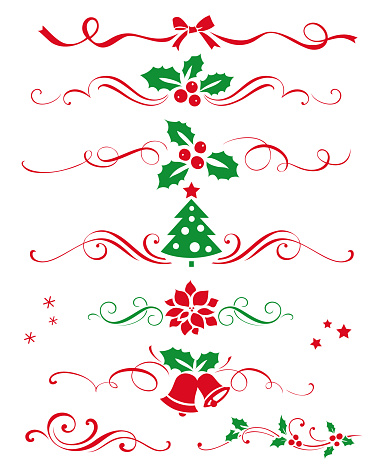 Winter set of decorative calligraphic elements, dividers and new year ornaments for page decor.