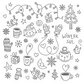 Winter doodle set with cute cartoon cats, birds and snowflakes on white  background. Snowy weather. Funny kittens. Animals  in clothes. Vector image. Children's illustration.