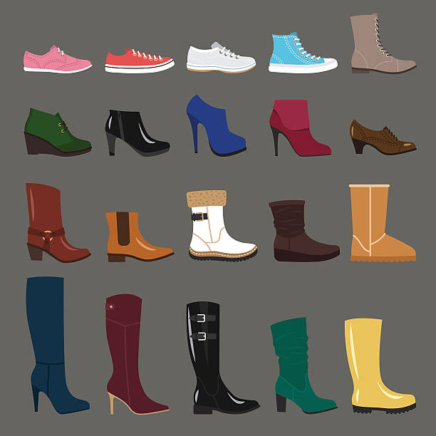 winter shoes - boot stock illustrations