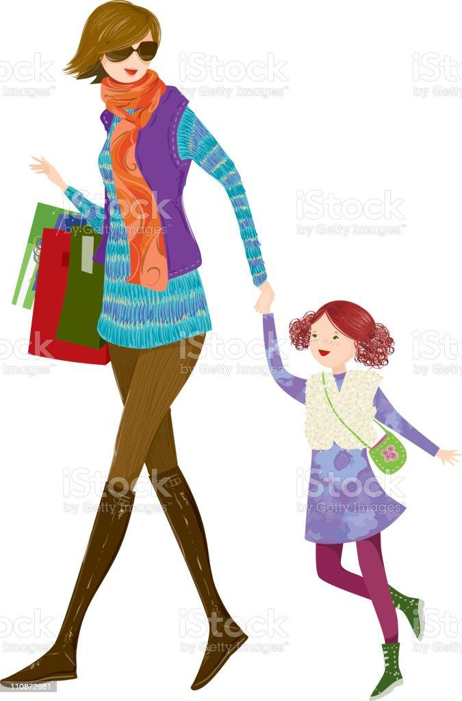 冬のショッピング、マミーと娘。 ベクターアートイラスト