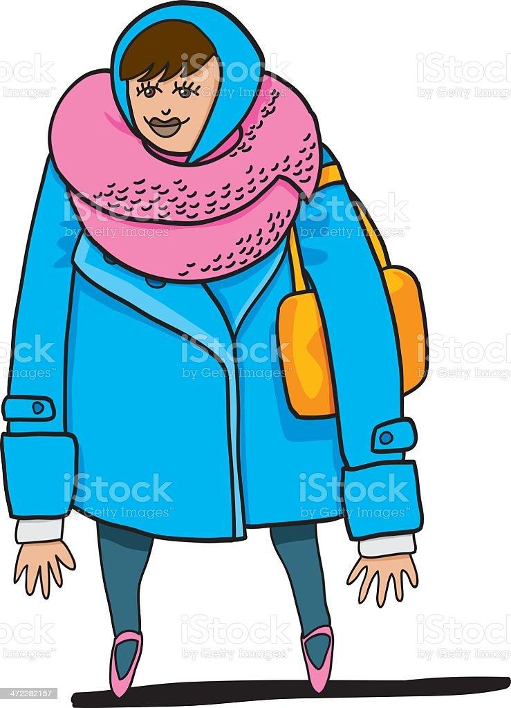 Winter Shopping Woman Headscarf Character vector art illustration