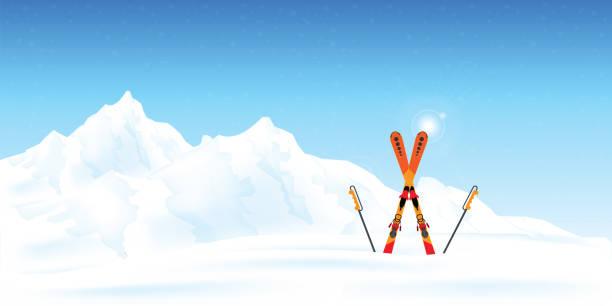 illustrazioni stock, clip art, cartoni animati e icone di tendenza di winter ski resort against winter landscape. - ski