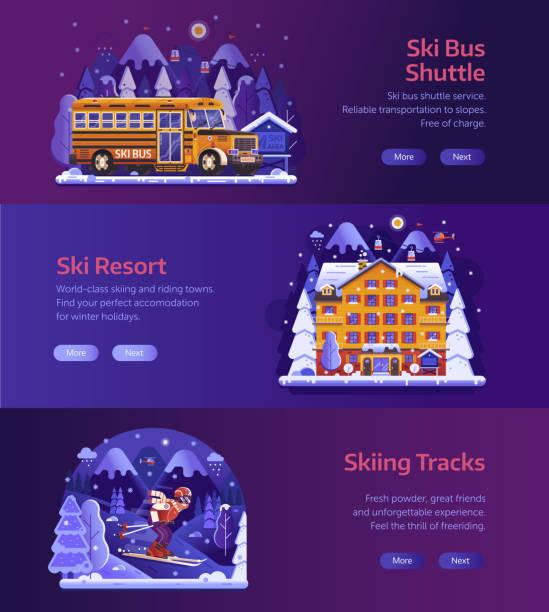 illustrazioni stock, clip art, cartoni animati e icone di tendenza di banner orizzontali winter ski resort - negozio sci