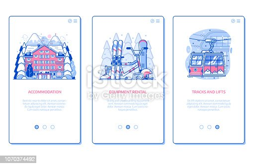 Ski resort onboarding mobile app page screens with hotel accommodation, winter sports equipment rental and ski lift in line art design. Winter holidays in mountains vertical banners for applications.