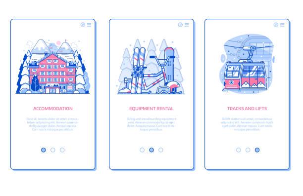 illustrazioni stock, clip art, cartoni animati e icone di tendenza di winter ski resort mobile a - negozio sci