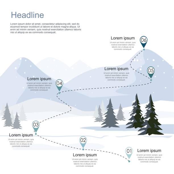 stockillustraties, clipart, cartoons en iconen met winter skigebied, route infographic. lagen van berglandschap met spar forest - skipiste