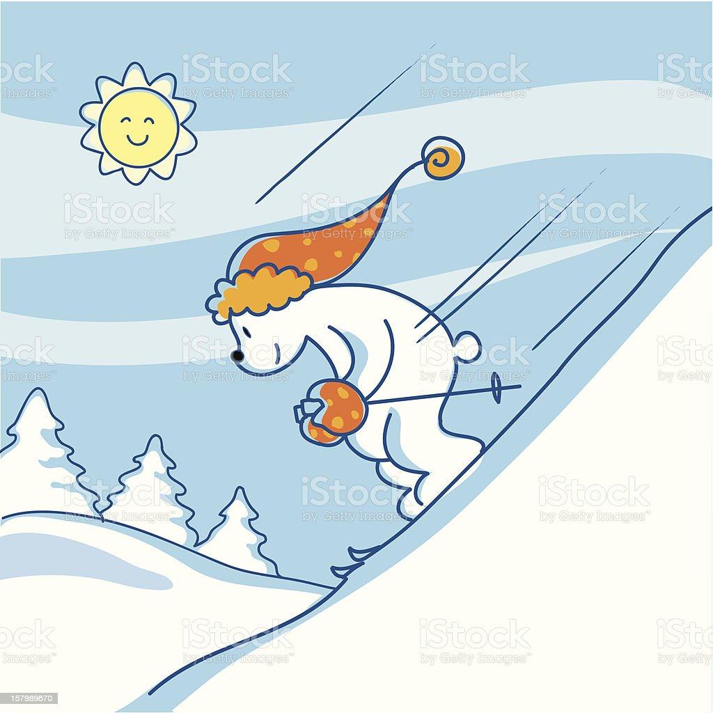 Winter: skiing bear vector art illustration