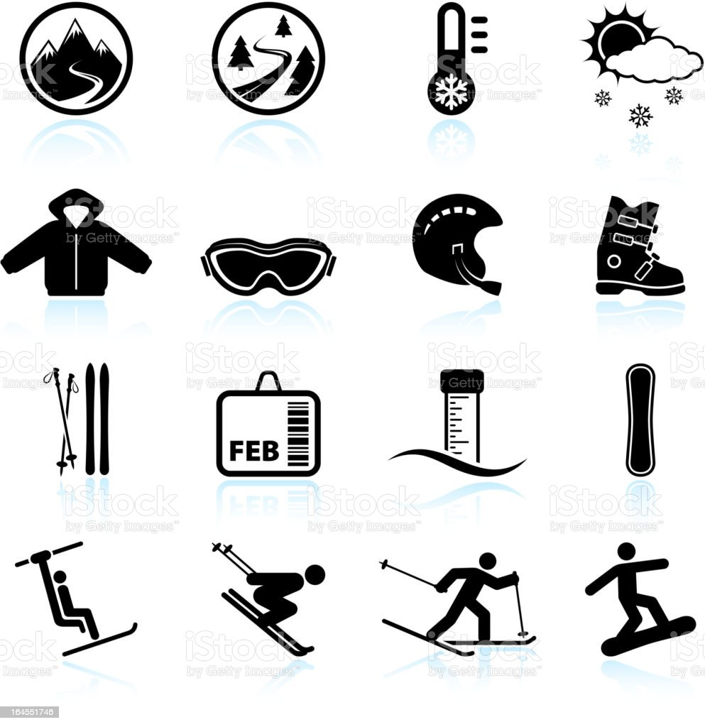 Winter skiing vacation black & white icon set