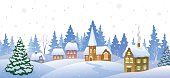 Vector cartoon illustration of a winter small snowy town.